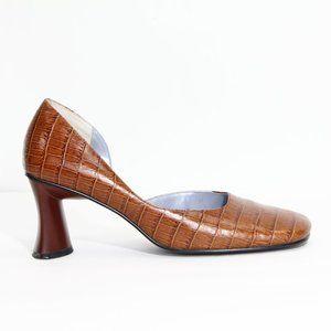 Women Vintage Leather Heels Square Toe Block Heel